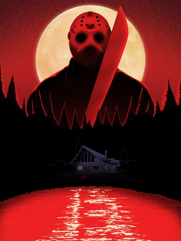 friday the 13th   bloody friday print by doaly via