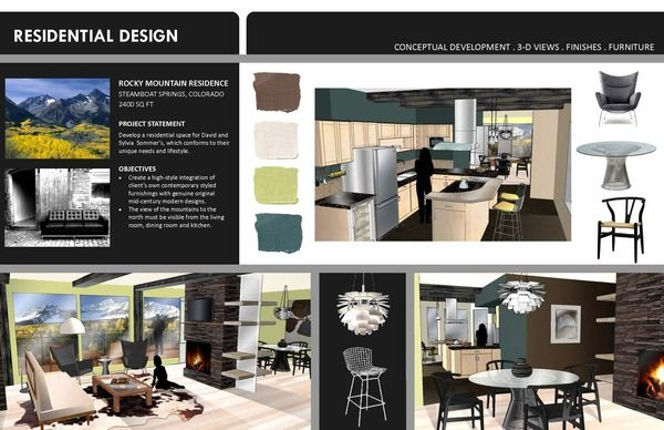 Interior Design Presentation Student Portfolio Sample Pages By Jennifer Bussey Via Behance