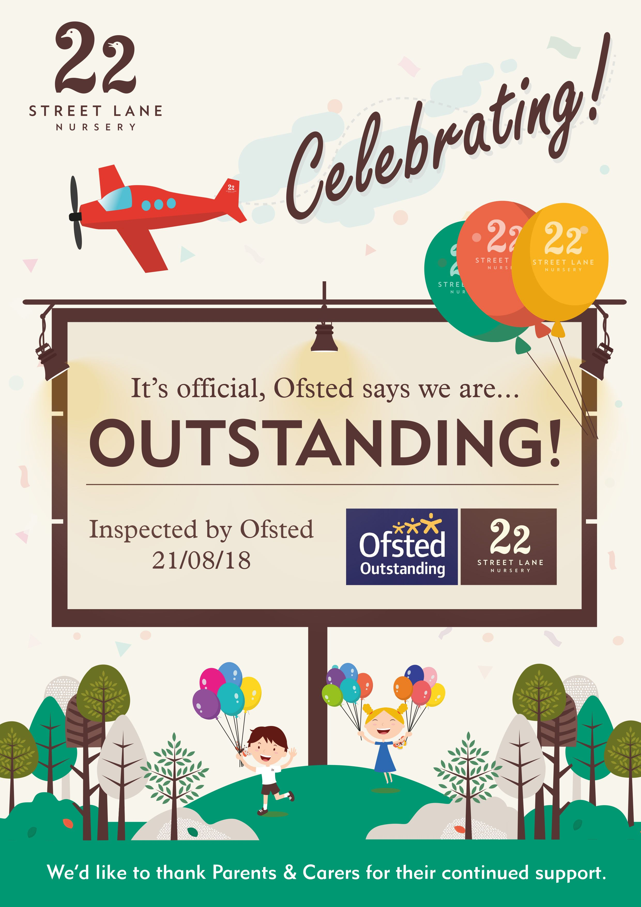 Ofsted Outstanding Poster Designed By The Marketing Team At 22 Street Lane Nursery 22streetlanenursery Posterdes Nursery Poster Nursery Poster Design