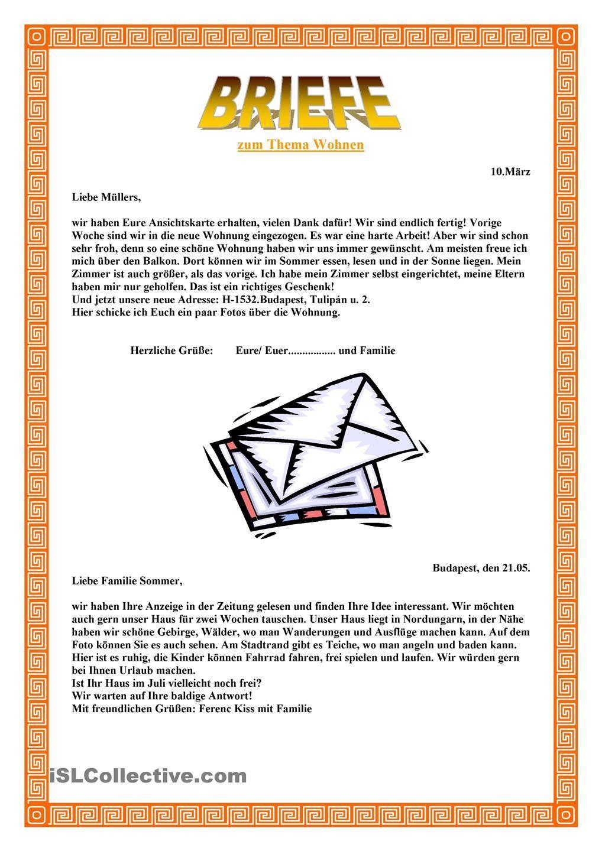 Briefe (mit Bildern) Deutsch lernen, Brief deutsch