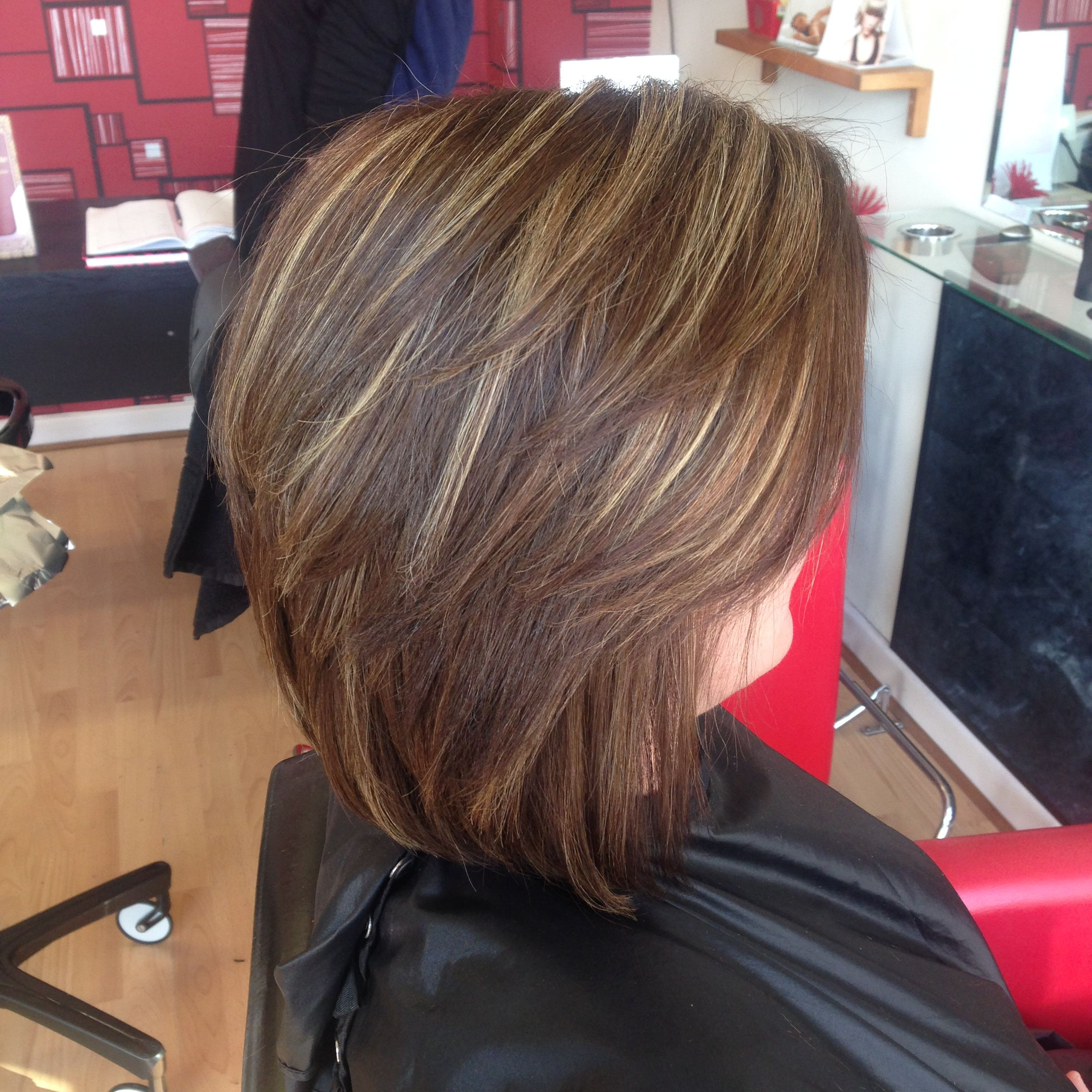 Beautiful Short Hair With A Natural Warm Medium Brown Base With Blonde Highlights Brown Hair Makeover Short Brown Hair Blonde Hair With Highlights