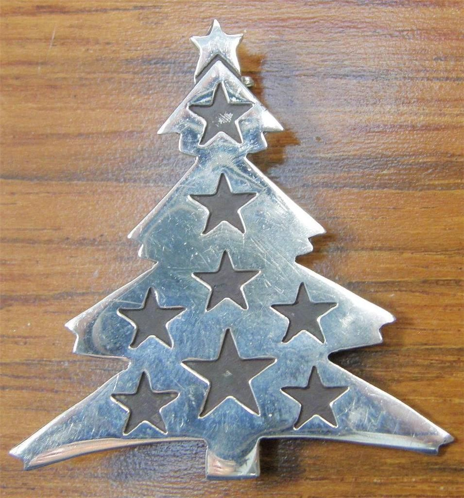 B 925 Sterling Silver Large Mexico Signed Wi Star Christmas Tree Vintage  Brooch | EBay