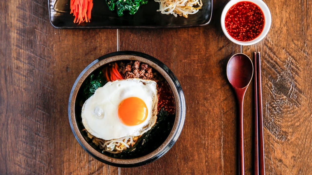 Bibimbap - Korean Mixed Rice with Meat and Assorted Vegetables ...