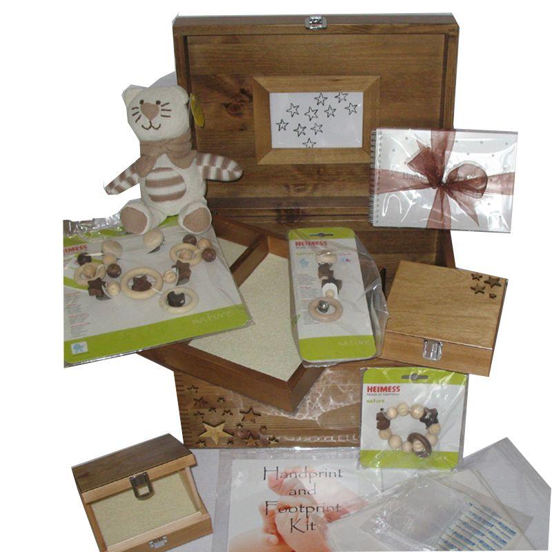 Personalised XL Natural Rustic Pine Baby Gift Set Keepsake Boxes ...