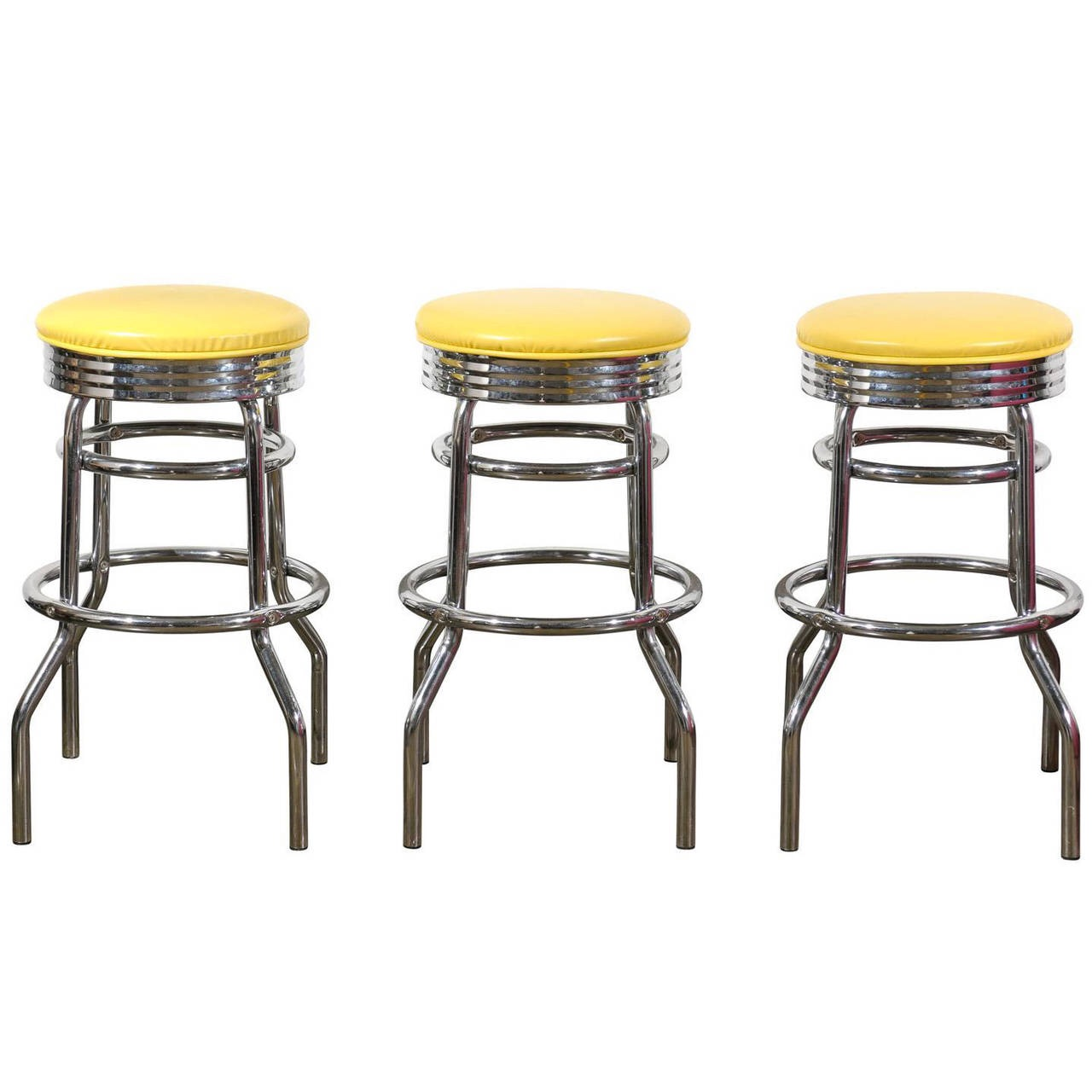 Surprising Set Of Three Midcentury Swiveling Counter Height Barstools Andrewgaddart Wooden Chair Designs For Living Room Andrewgaddartcom