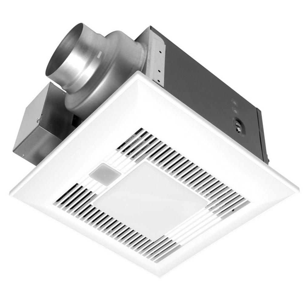 Panasonic Deluxe 110 Cfm Ceiling Bathroom Exhaust Fan With Light Motion Sensor And Humidity Control Sensor Energy Star White Bathroom Exhaust Fan Panasonic Bathroom Fan Humidity Sensor
