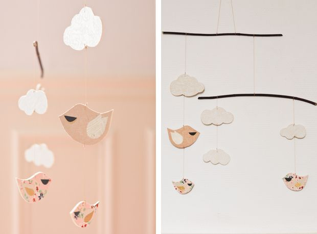LOVE this DIY mobile...would keep everything but the color and the birds, I'd change the birds to owls and the colors to the yellow, grey, white color scheme!