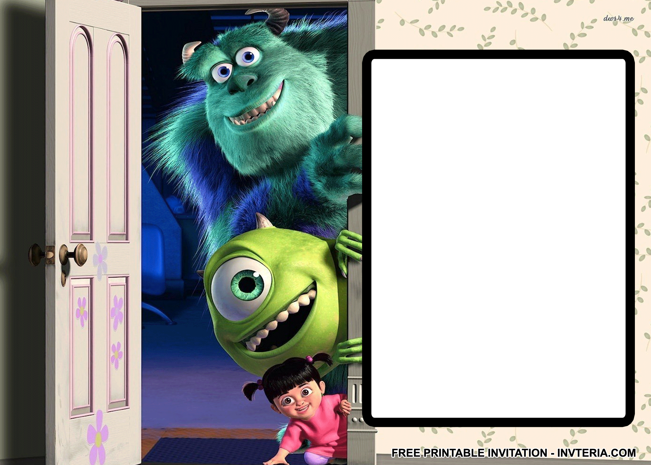 AWESOME BEST FREE PRINTABLE MONSTERS INC BIRTHDAY INVITATIONS IDEA