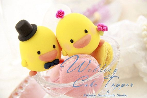 Lovely Wedding Cake Topper Handmade love ducks cake by kikuike #cakedecor #yellow
