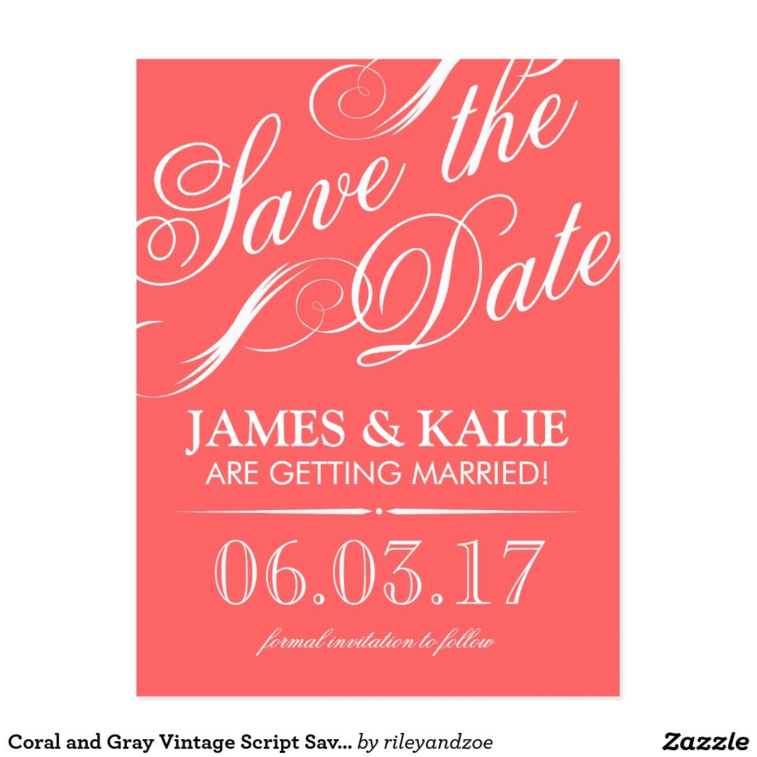 Coral and Gray Vintage Script Save the Date Postcard | Wedding ...