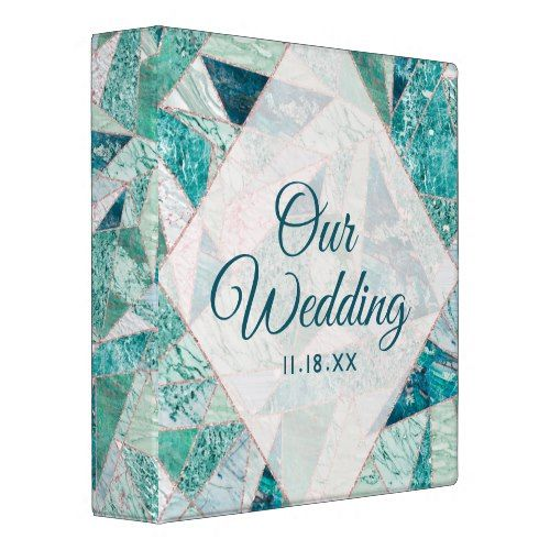 Teal Mosaic Marble Triangles Wedding Photo Album 3 Ring