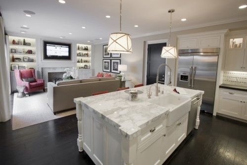 White Kitchen Family Room family room kitchen combination pictures | kitchen/family room