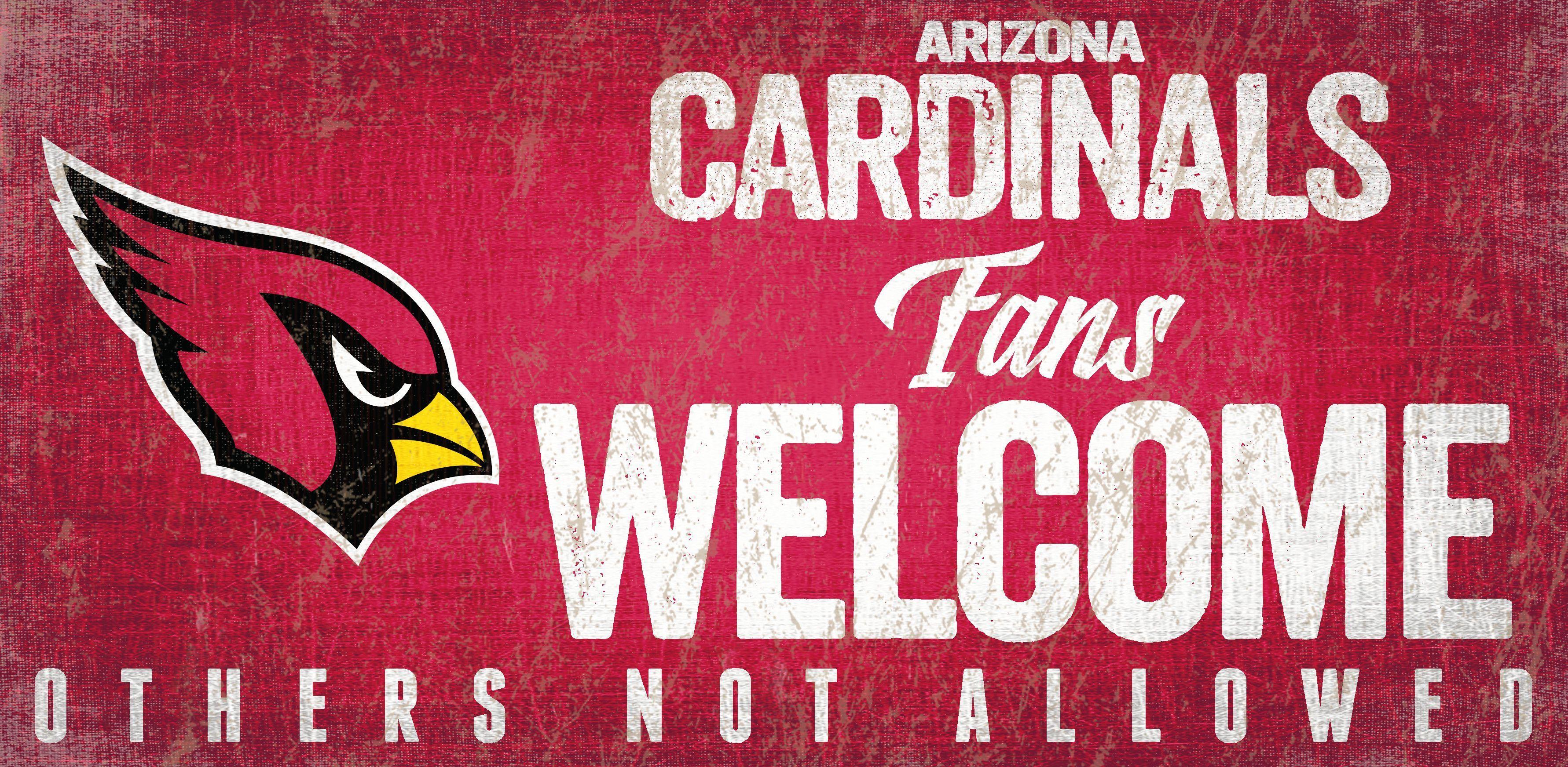 Arizona Cardinals Wood Sign Fans Welcome 12x6