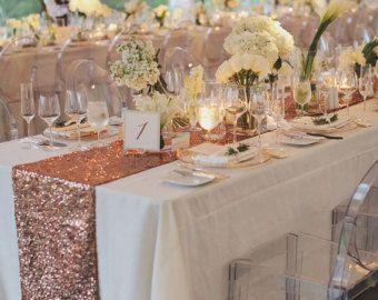 Blush Rose Gold Pailletten Tischlaufer Und Von Candycrushevents