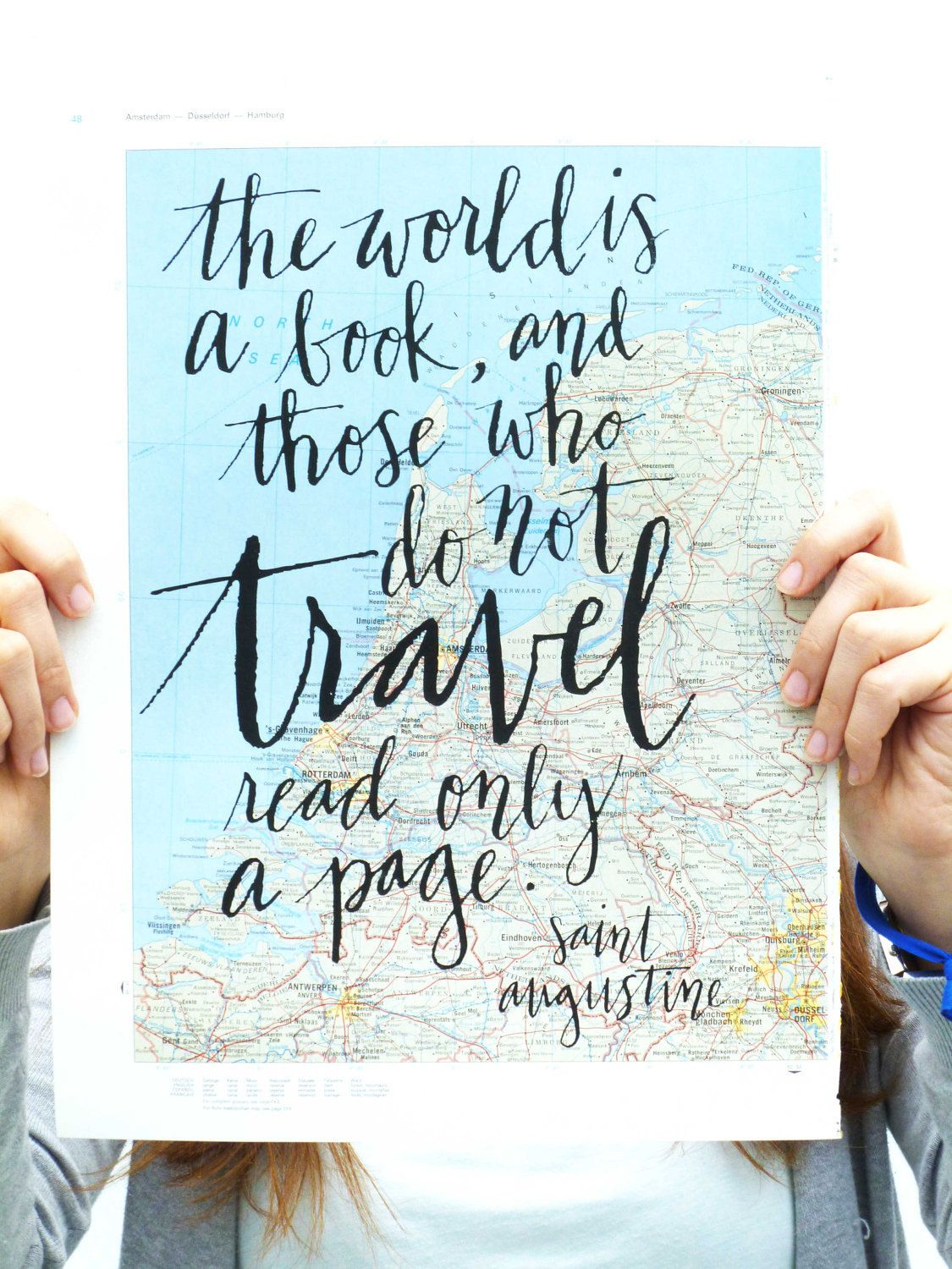 Travel Quote Screen Print On Vintage Atlas Page Saint Augustine Travel Quotes Words Travel Reading