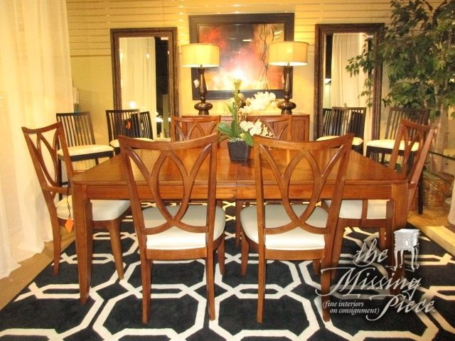 Gorgeous Kanes dining table in a warm medium finish with six ...