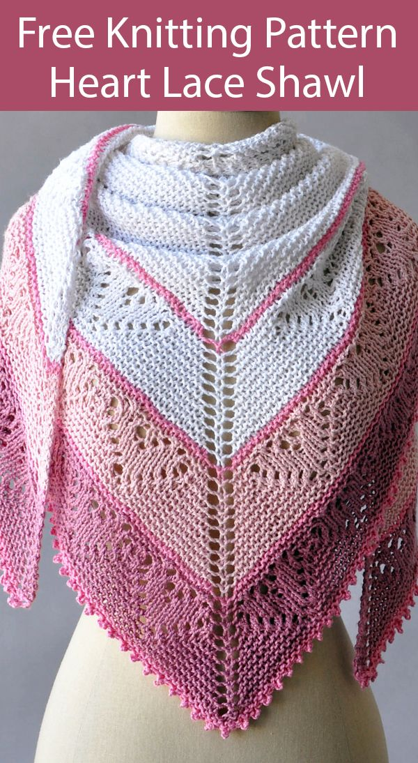 Free Knitting Pattern for Be Mine Shawl with Lace Hearts on Garter Stitch