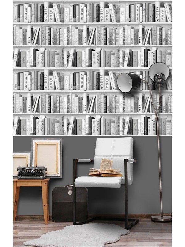 Freestyle boekenkast grijs behang (papierbehang, grijs) | проект ...