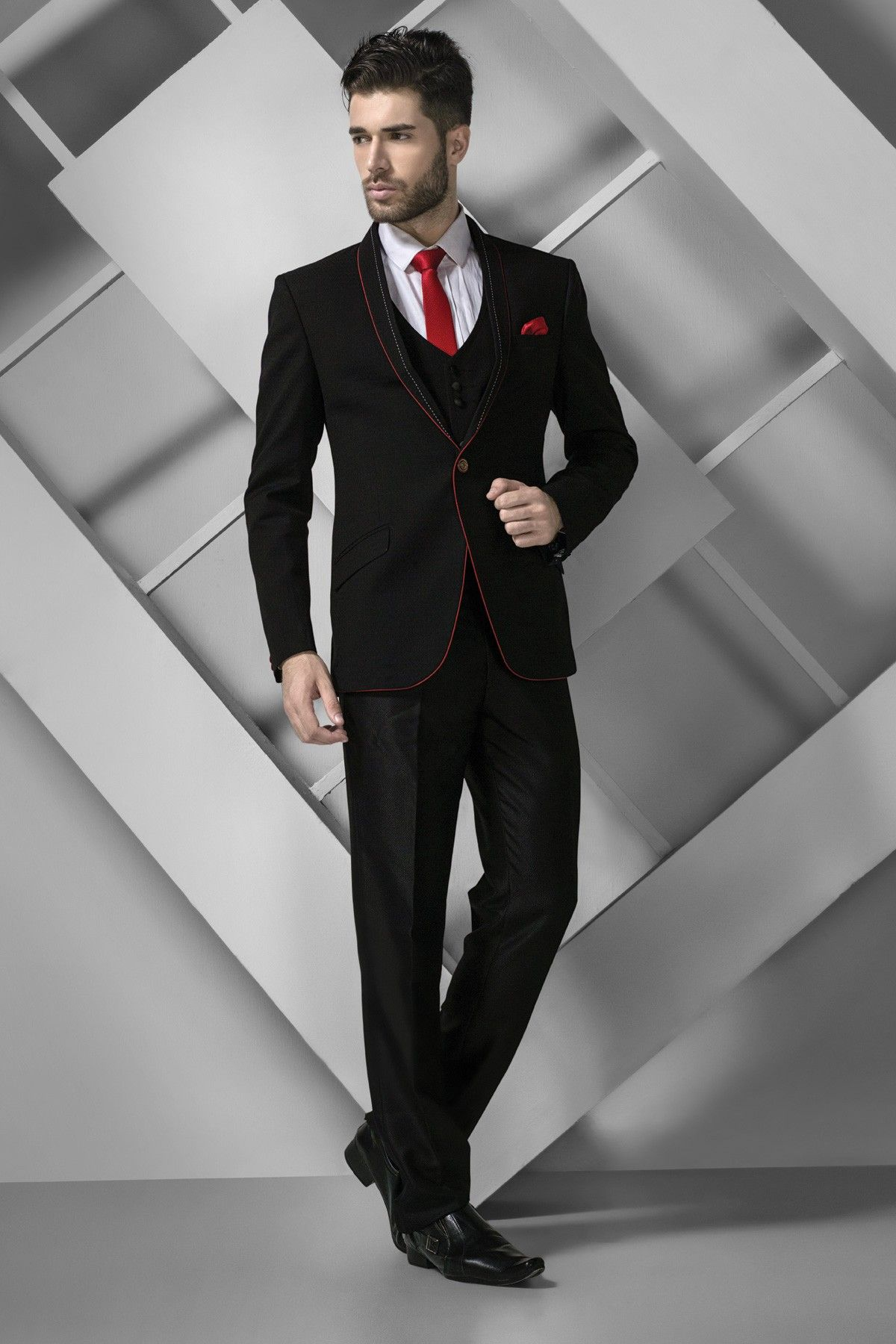 Black italian crepe silk prince fit fashionable suit with shawl