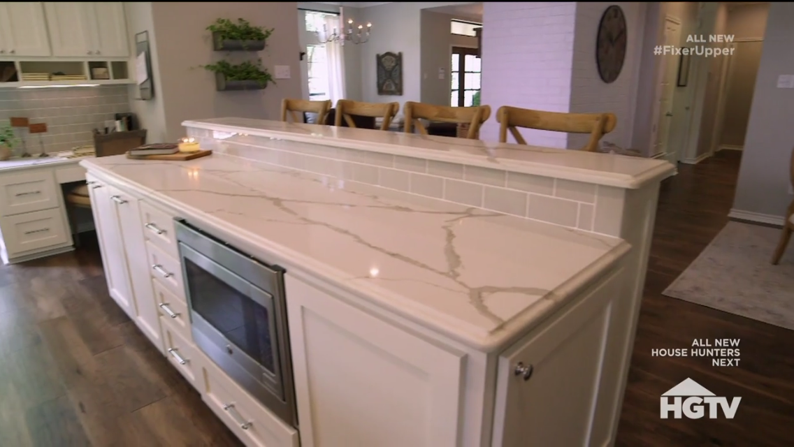 White Kitchen Quartz fixer upper season 4 episode 8 stately in white kitchen quartz