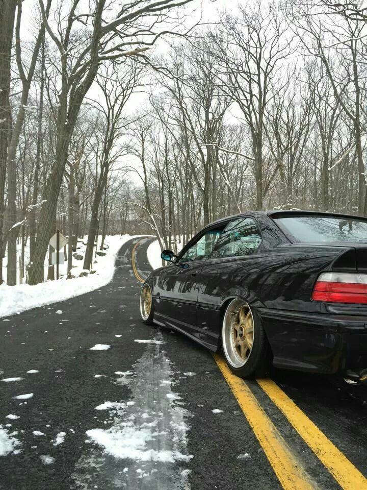 BMW E36 3 series black deep dish slammed winter