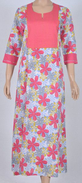 Long gown cotton Nightie blue base floral pink pattern three-fourth sleeve e79688e30