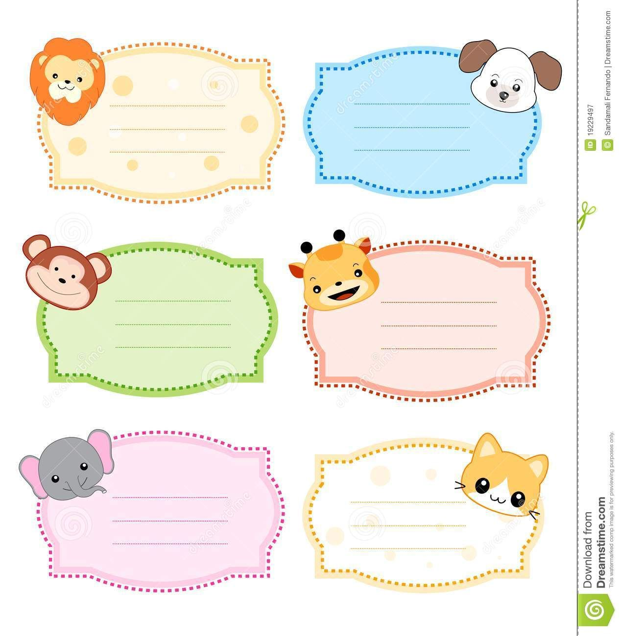 Animal Label Frame Nametags For Kids Name Tags Quilt Labels