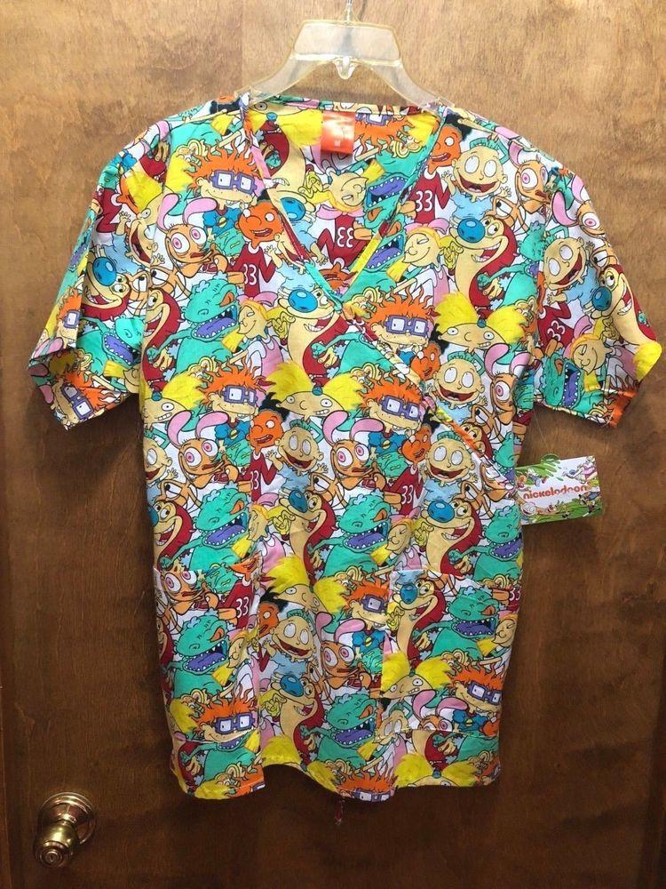 5e6ab932cc5 Nickelodeon Rugrats Hey Arnold Ren Stimpy Women's Scrub Top Size M Medium # NICKELODEON