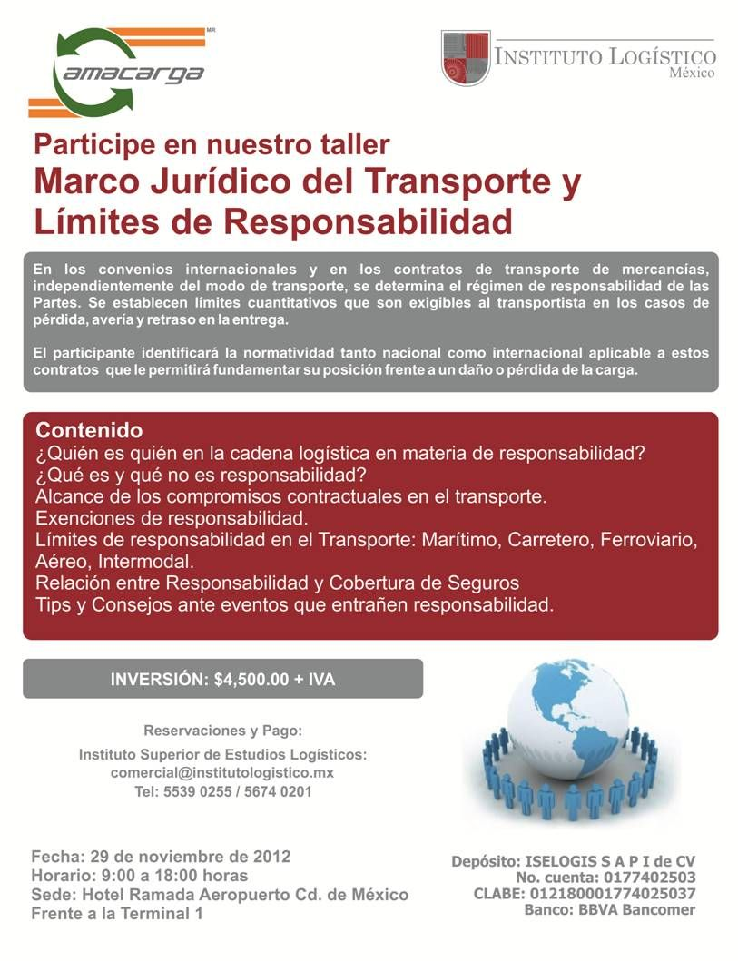 Taller: Marco Jurídico del Transporte y Límites de Responsabilidad | 29 de Noviembre | México DF