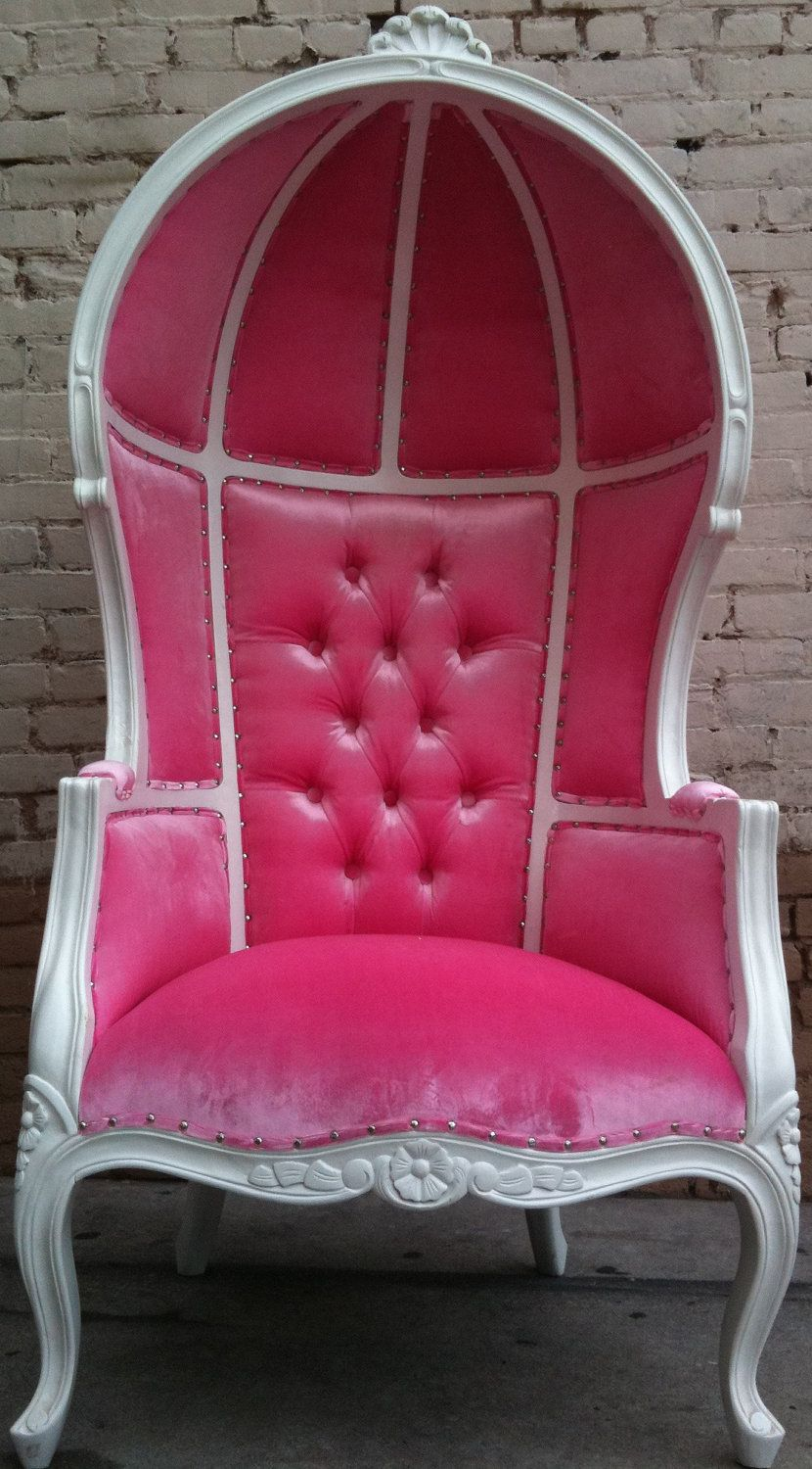 Princess throne chair - Pink White Porters Chair Princess Queen Diva Throne Egg Hooded Chair French Glamor 895 00