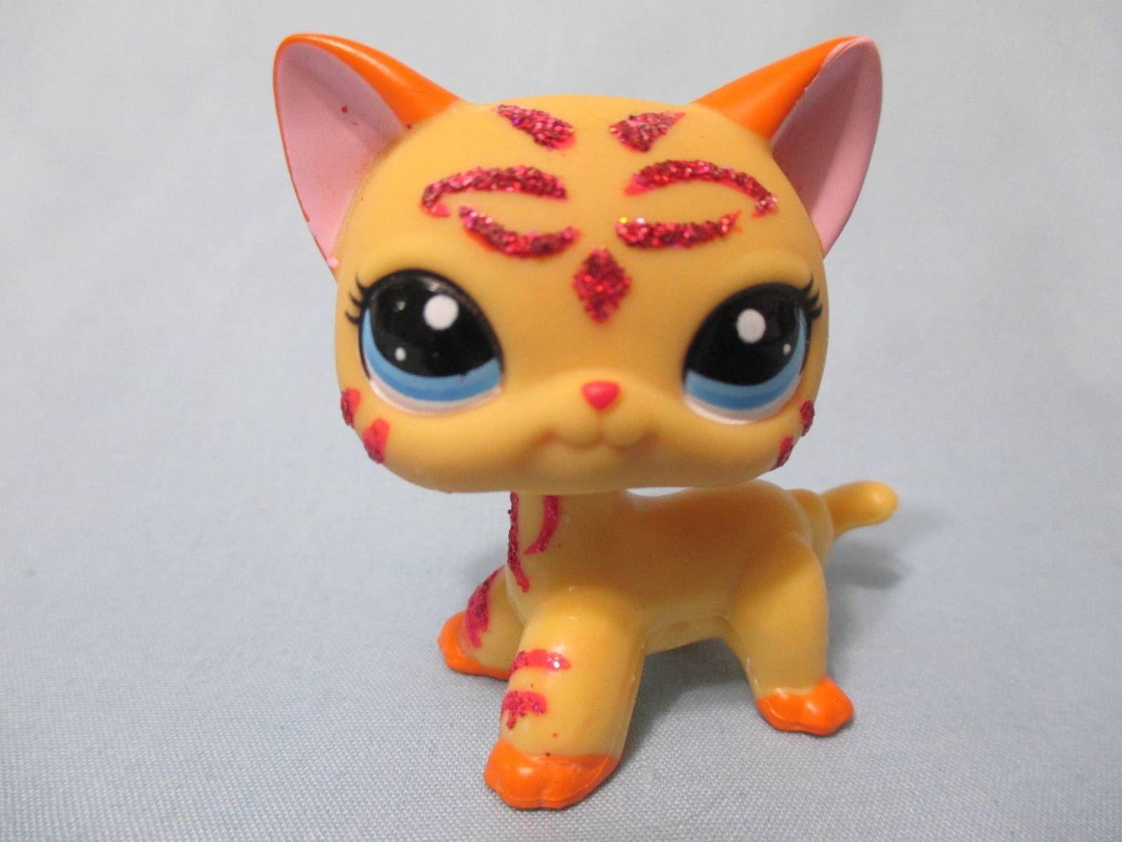 Littlest Pet Shop Lps Rare Orange Shorthair Pink Glitter Sparkle Cat