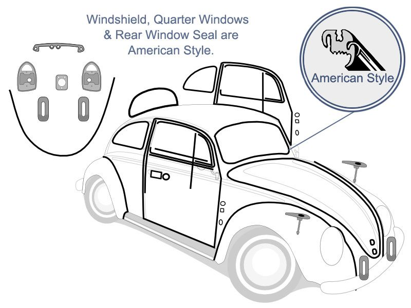 Vw Complete Car Rubber Kit American Style Beetle Sedan 1971