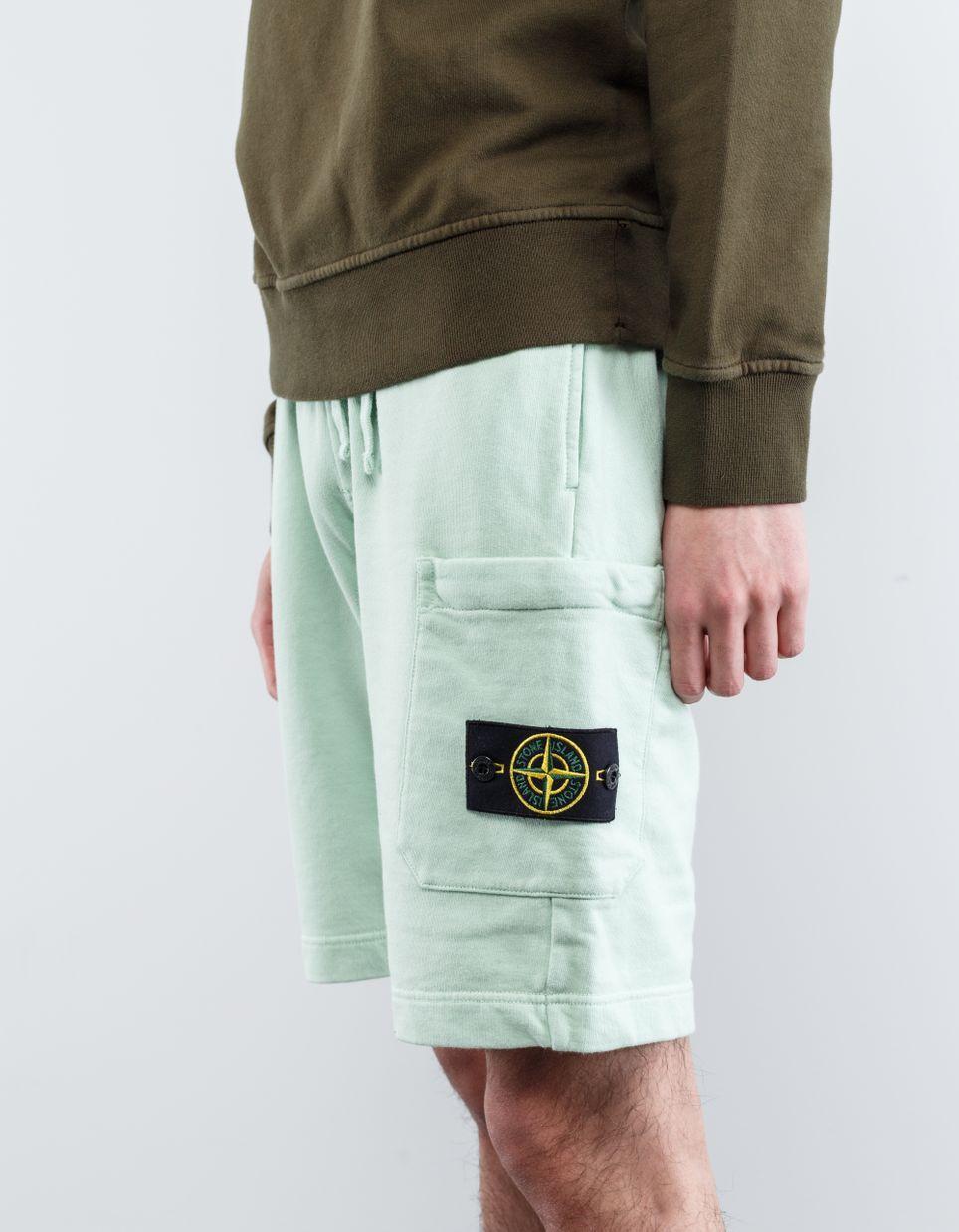 Stone Island 681560840 V0052 Fleece Bermuda Shorts Light Green Bermuda Shorts Trousers And Shorts Shorts