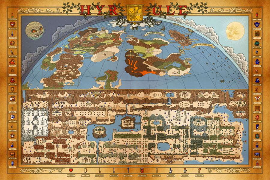 Nes hyrule map overworld gaming video games and videogames i totally need this poster its an entire map of hyrule it even has gumiabroncs Gallery