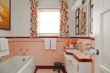 More Uncommon Still Is The Vintage Pink And Burgundy Bathroom This Home Was Reimagined On A Budget By Desi Burgundy Bathroom Pink Bathroom Tiles Pink Bathroom