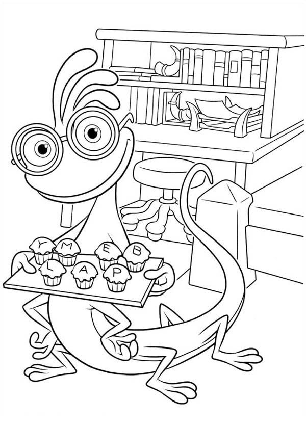 Randall And A Plate Of Muffin In Monsters University Coloring Page