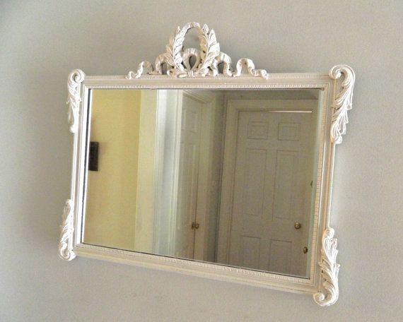 Vintage White Shabby Chic Mirror Wood Frame Ornate Large | Pinterest