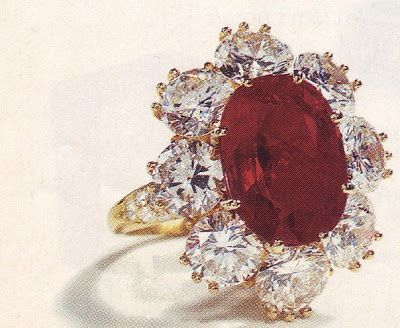 Red is for Wales. Richard Burton kept telling Elizabeth he was going to buy her a ruby-the most perfect ruby in the world. Elizabeth received this for Christmas one year.