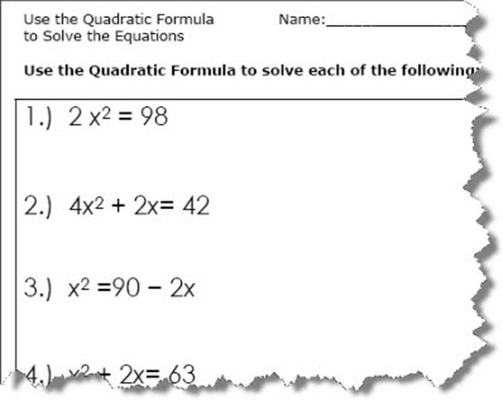 Quadratic Formula Worksheets Steven Math Pinterest Worksheets