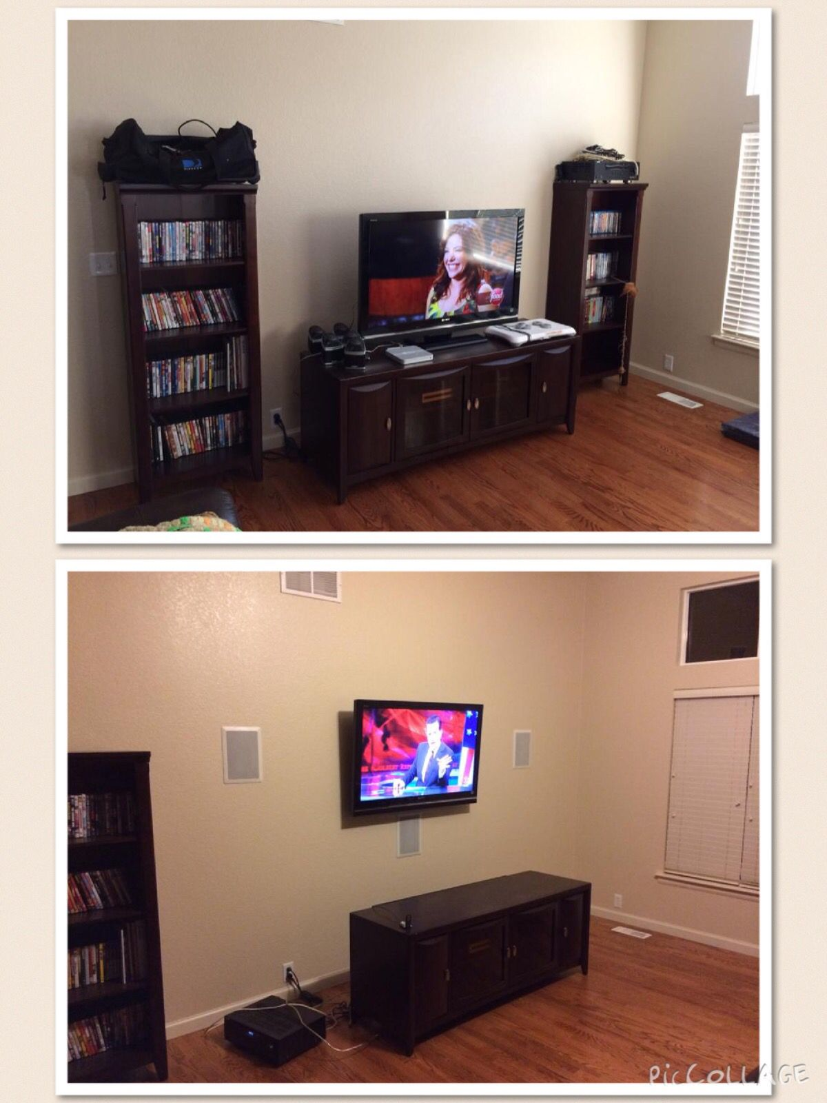 Installed full surround sound with in wall speakers, TV mount