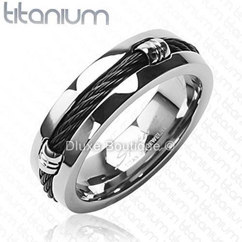 Men S 7mm Solid Titanium Black Ip Wire Rope Inlay Wedding Band Size 9 14 Ebay Rings For Men Titanium Jewelry Custom Wedding Rings