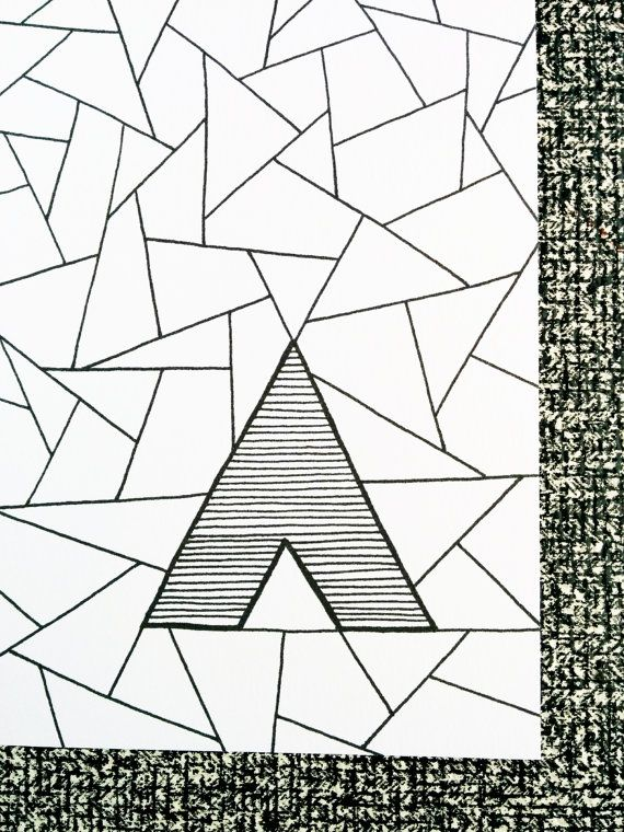 A4 Poster tipi Print teepee A4 print Black and by SweetAndMellow