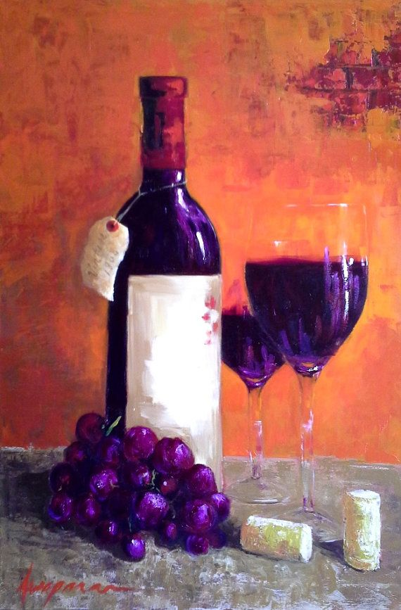 Red wine still life bottle wine glasses and grapes art for Red glass wine bottles suppliers