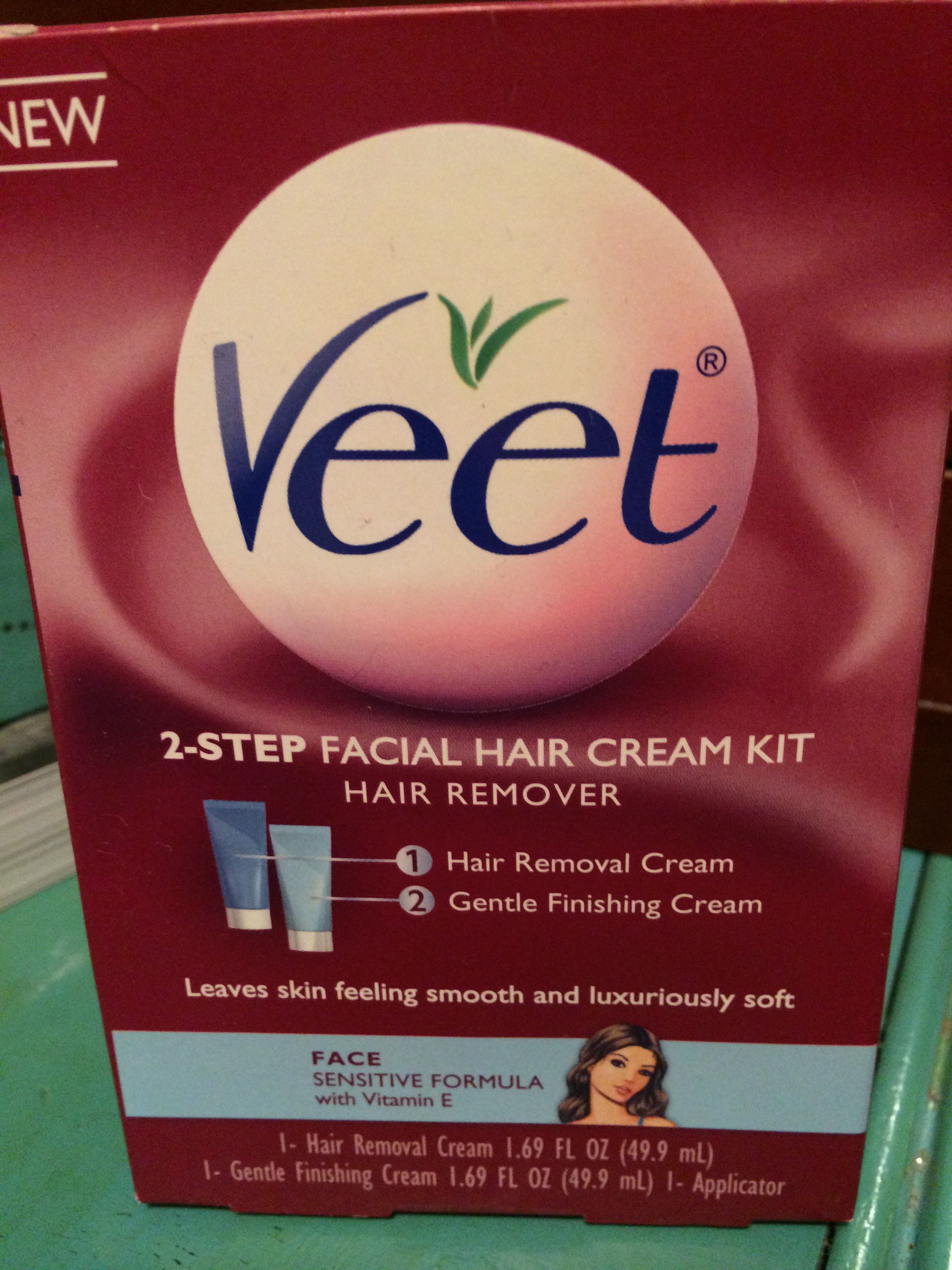 Veet 2 Step Facial Hair Removal Cream Kit Used Once Facial