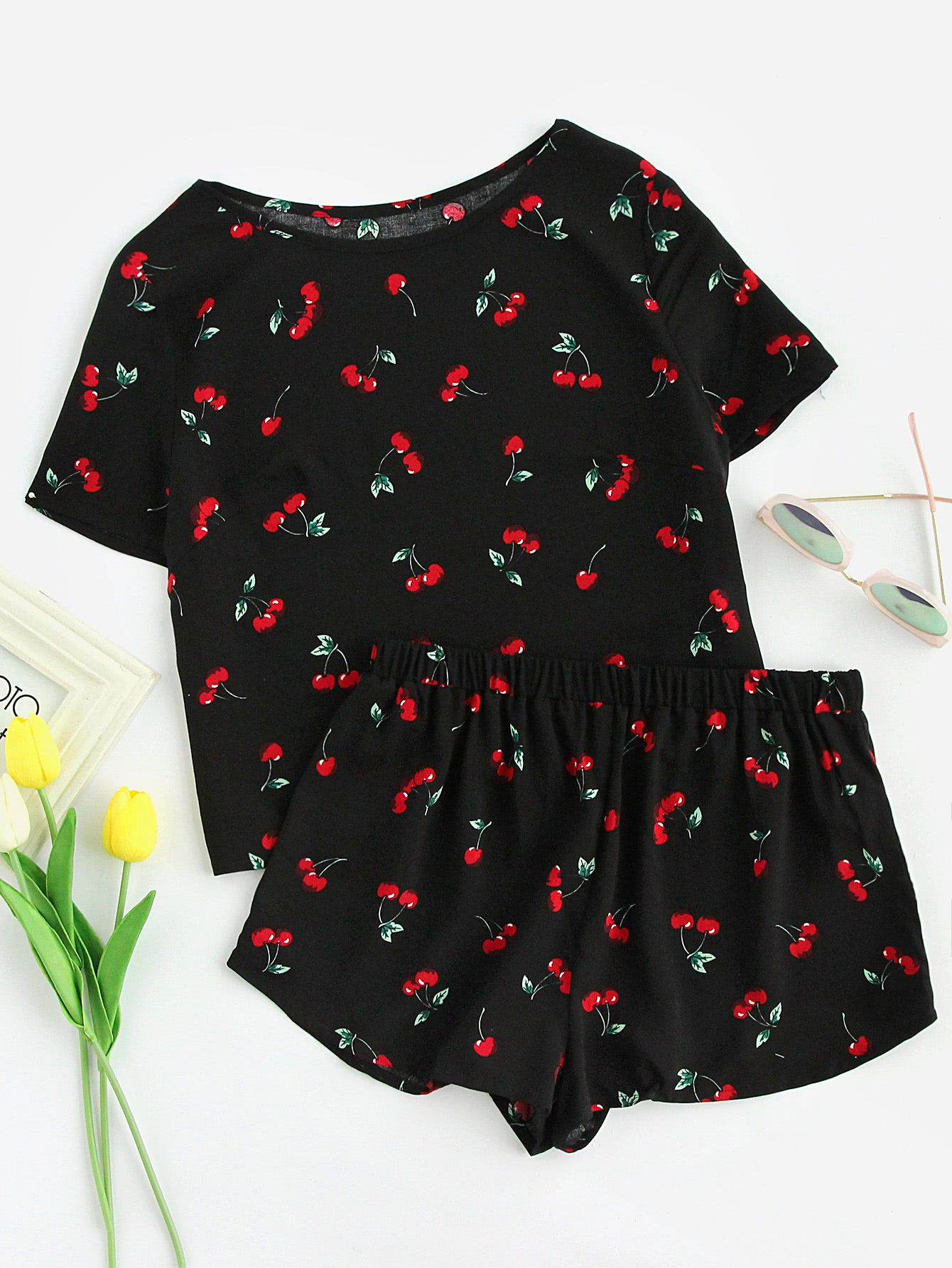 Cherry Print Top And Shorts Pajama Set  4136388fd
