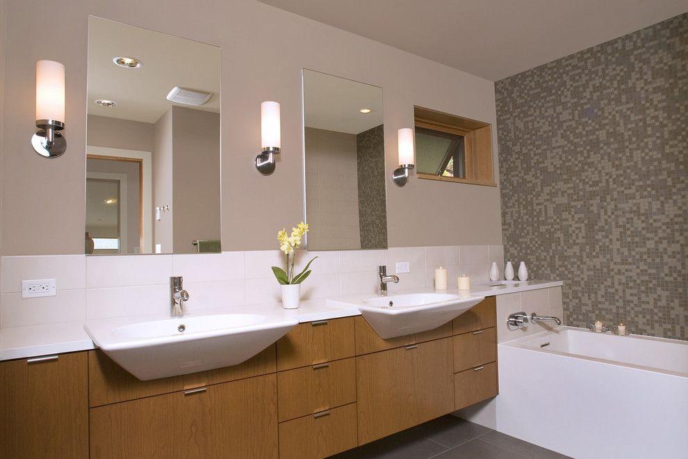 Bathroom Creative Various Circle Mirror Design With Vertical