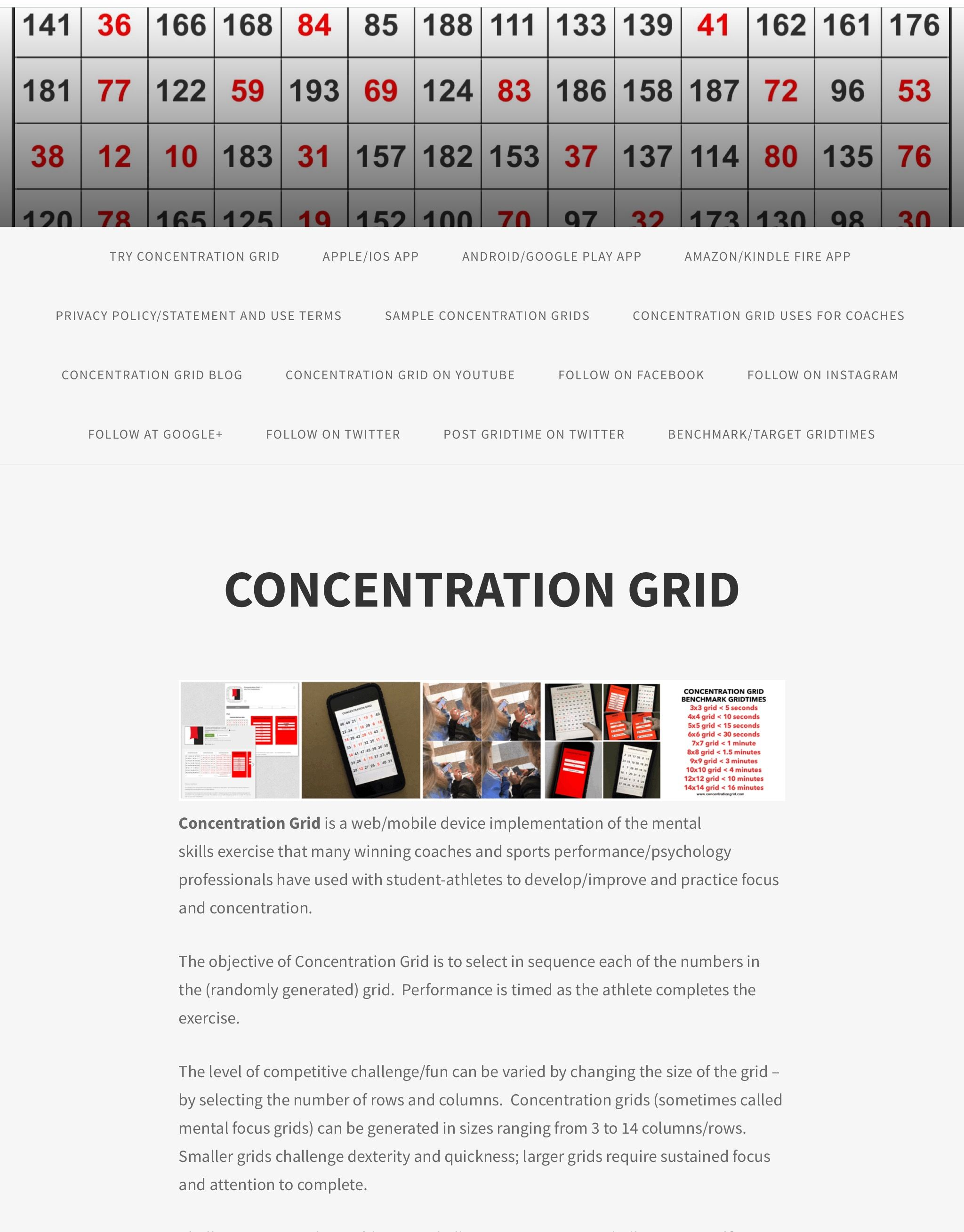 Concentration Grid (Apple/Android app) www