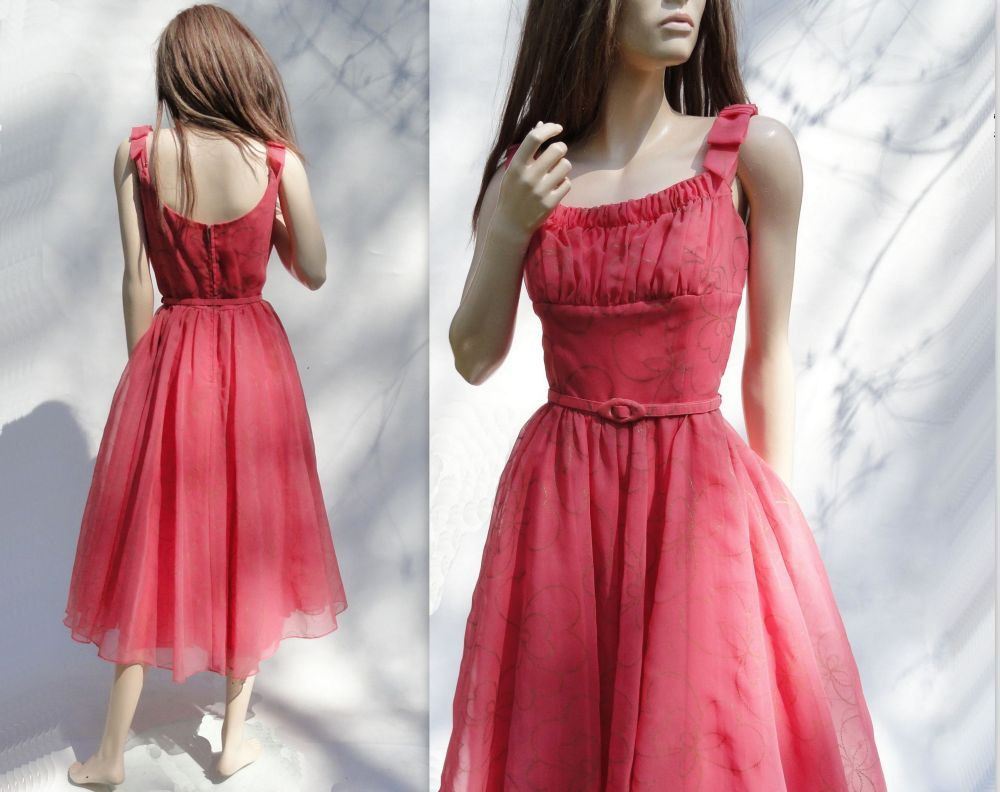 1950s Vintage Party Dress Coral Pink Prom Dress 50s Tea Length Shell ...