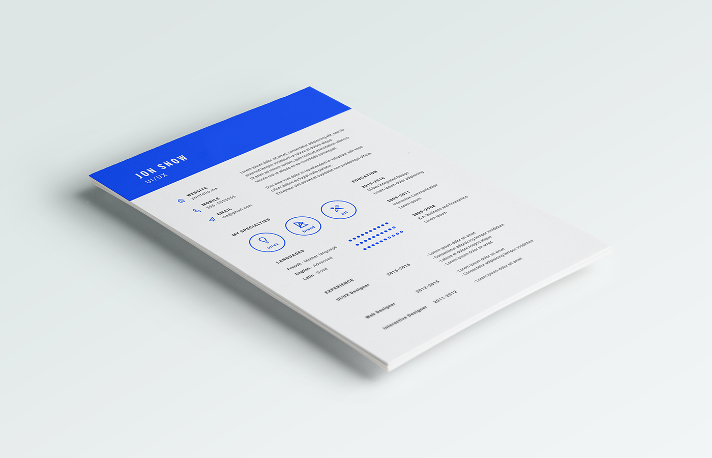 Simple Free Resume Template Free Cv Template  Feeling Blue  Free Minimal Resume Template