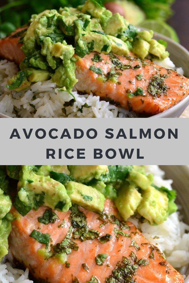 Avocado-Lachs-Reisschüssel-Rezept #avocado #salmon #salmonrecipes #seafood #sea #tacotuesdayrecipes